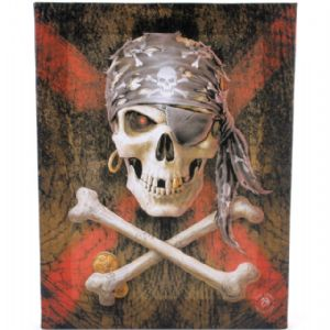 Pirate Skull Design Canvas Wall Plaque.