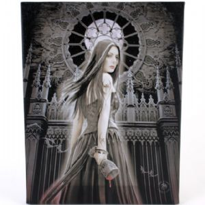 Gothic Siren Woman Holding Goblet Design Canvas Wall Plaque.