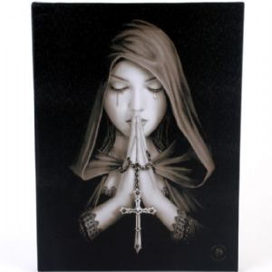 Gothic Prayer Woman Holding Rosary Design Canvas Wall Plaque.