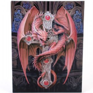 Gothic Guardian Dragon On A Cross Design Canvas Wall Plaque.