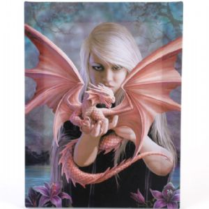 Dragon Kin Girl Holding Baby Dragon Design Canvas Wall Plaque.