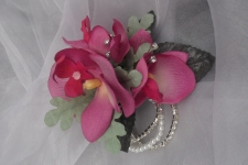 Silk wrist corsage dusky pink and soft green with diamante