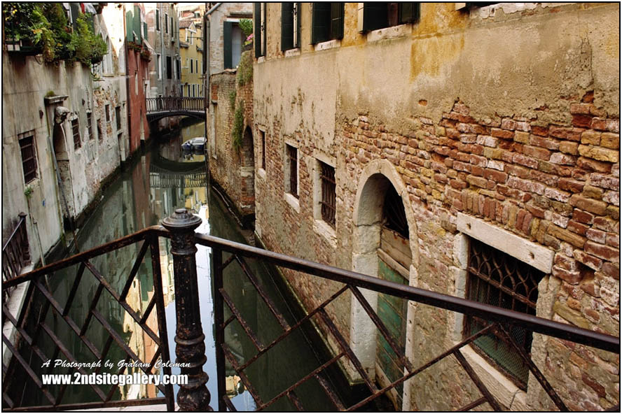 Railings and canal, Venice