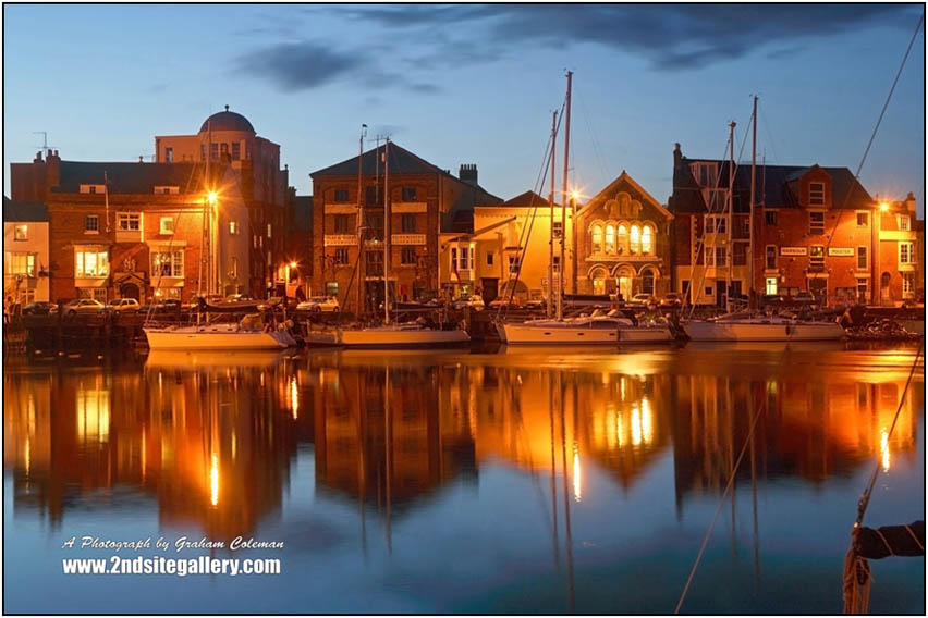 Reflections of Weymouth Harbour at Night, Dorset Landscapes by Graham Coleman