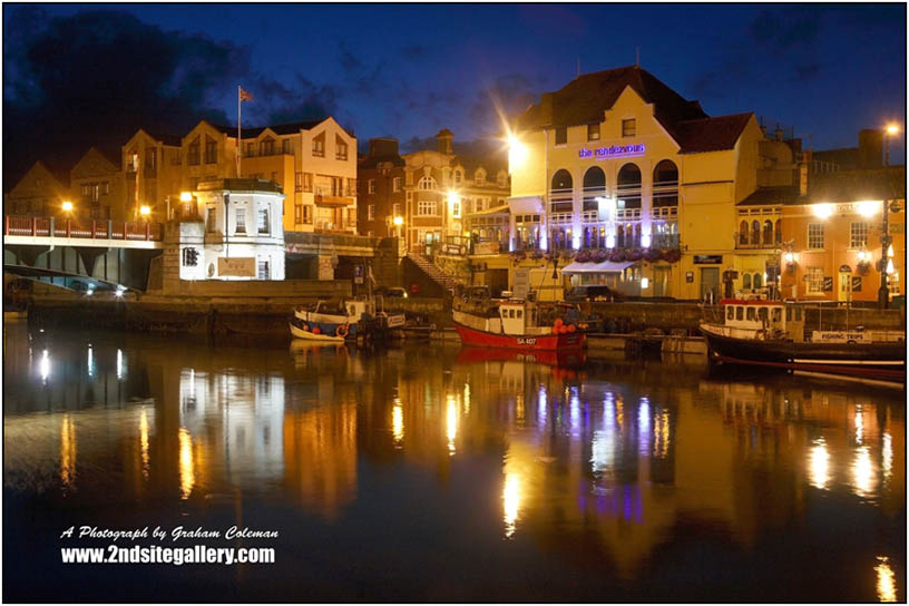 Weymouth Harbour at night a photograph from 'Dorset Landscapes by Graham Coleman