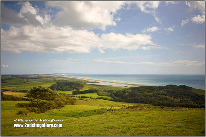 Distant view of Chesil beach on the jurassic coast, Landscapes of Dorset by Graham Coleman