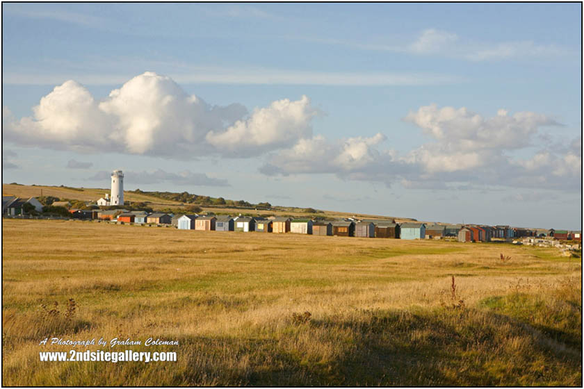 Light house and huts, Portland a photograph from Graham Coleman's Landscapes of Dorset