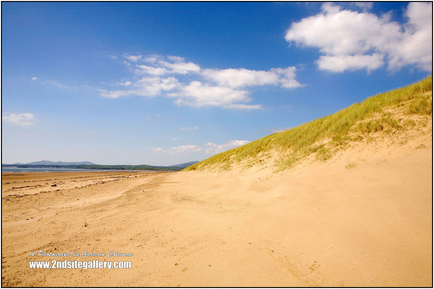 Harlech Beach, sand dunes and blue sky