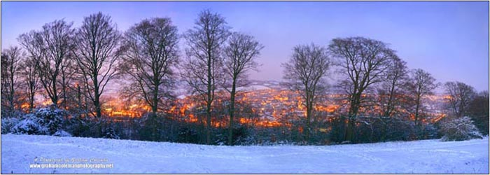 Stroud Lights from Minchinhampton in the snow art dusk, Landscapes of the Cotswolds by Graham Coleman
