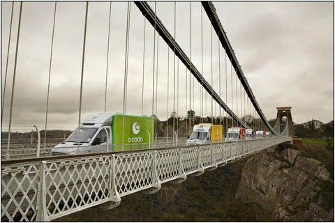 View of ocado vans crossing the clifton suspension bridge a commissioned photograph by landscape Photographer Graham Coleman