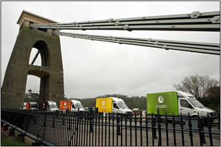 ocado trucks crossing clifton suspension bridge in Bristol, a promotional picture talken by Graham Coleman the Bristol Landscape photographer