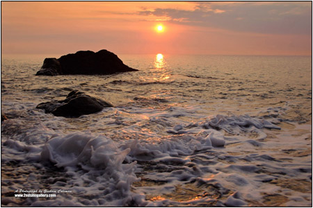 Sunset on the ocean waves, a seascape taken at sillery sands near lynemouth