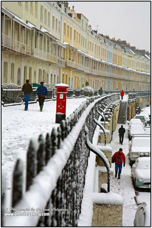 View of Royal York Crescent, Bristol in the snow