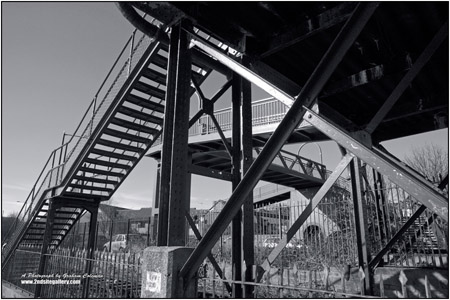 abstract view of an iron foot bridge