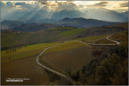 View the sibilini mountains in Le Marche Italy