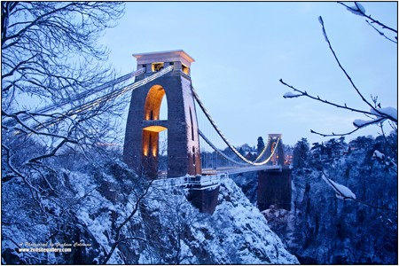 vIEW OF cLIFTON sUSPENSION BRIDGE IN THE SNOW