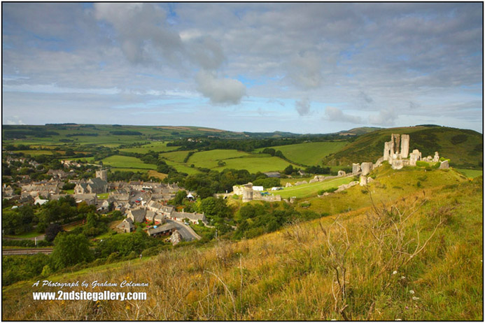 Corfe and Corfe castle from the Purbeck Hills