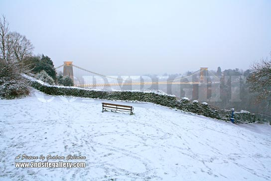 Bench in the snow by Clifton Suspension Bridge