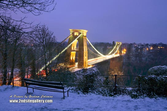CLifton suspension Bridge in the snow