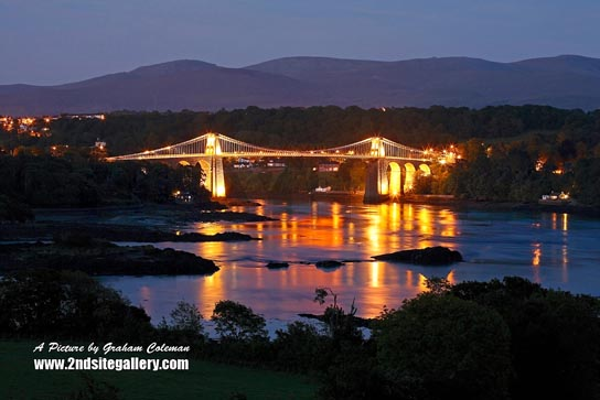 The Menai Bridge illuminated
