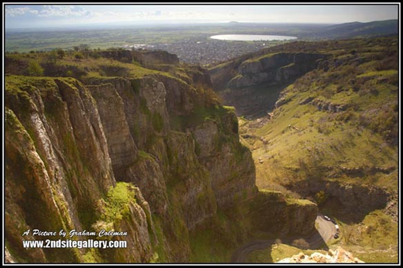 View of Cheddar Gorge from the top of the cliffs looking out over somerset and the Bristol Channel, Pictures of Somerset by Graham Coleman