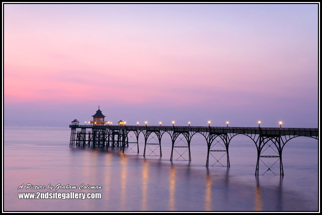 Framed print of Clevedon pier at dusk by Somerset landscape photographer Graham Coleman