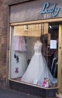 Lady Fair gown in window