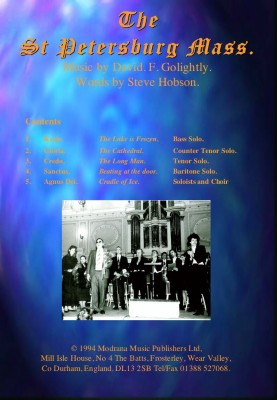979-0708056 003 St Petersburg Mass Orchestral study score includes CD premiere recording T/T/B/B version