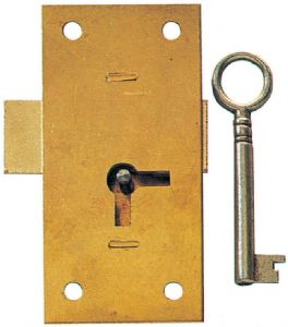 """old stock. with key 1 1//4/"""" x 2/"""" ... chest lid lock half mortice snap lock ."""