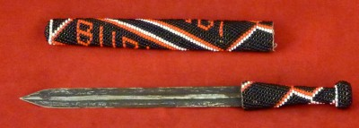 African Knife In Bead Adorned Wooden Scabbard