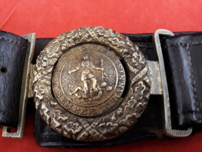 Pre 1865 Made, Confederate, American Civil War Brass Belt Buckle With Leather Belt, Virginia SIC Semper Tyrannis.