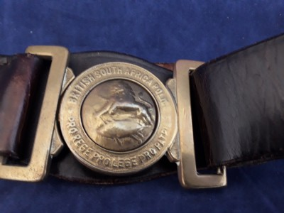 Victorian: British South Africa Police Leather Belt And Buckle