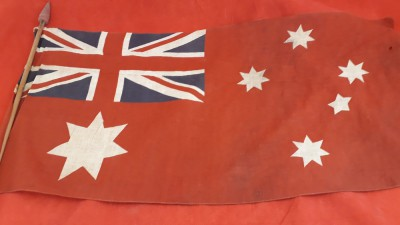 Australian 1922 Empire Day Small Hand Held Flag And Original Pole
