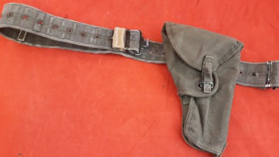 1965 Dated British WD Stamped Webbing Auto Pistol Holster And Belt