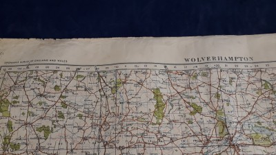 Linen Backed 1940 Dated War Revision One Inch Map Of Wolverhampton And Surrounding Area
