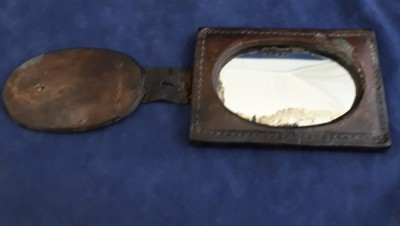 South African/Boer War Or Great War British Officers Shaving Mirror/Heliograph In Leather Holder.  Dated British Sam Brown Officer