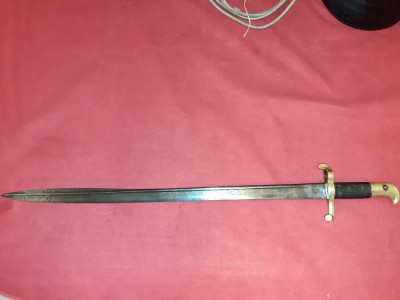 Scarce British 1855 Pat. Lancaster Bayonet (Scabbard Absent)