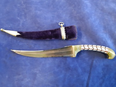 A Fine Quality Pesh Kabz Indo Persian Dagger In Purple Velvet Covered Scabbard