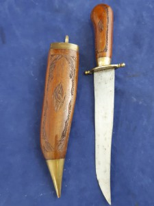 Export/ Tourist Type Indian Sheath Knife In Decorated Wooden Scabbard