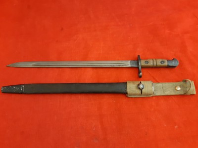 1913 US Remington Bayonet In British Scabbard With AM 1941 Dated Webbing Frog