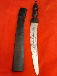 Large African Hunting Knife/ Dagger In Tooled Leather Scabbard