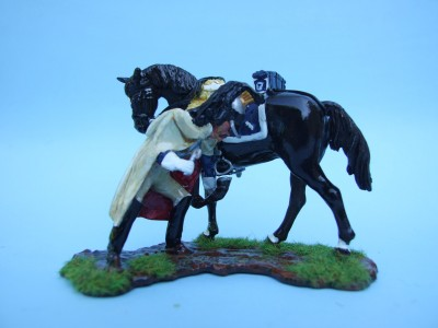 FRENCH CUIRASSIER TROOPER REMOVING STONE FROM THE HORSES HOOF