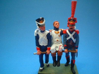 FRENCH NAPOLEONIC WOUNDED OFFICER BEIG CARRIED OFF THE FIELD