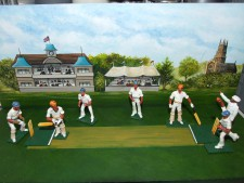 cricketers with backdrop and base