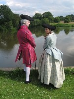 Back view of Georgian couple at Clumber park