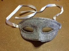 Silver eye mask on ribbons