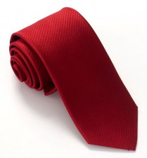 CHERRY RED RED LABEL PLAIN SILK TIE