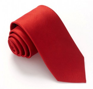 BRIGHT RED RED LABEL PLAIN SILK TIE