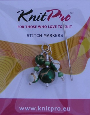 Zooni Stitch Markers Golden Green