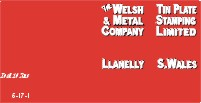 Welsh Tinplate Co., Llanelly.